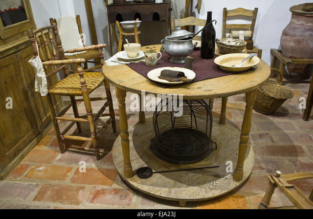 Old Kitchen Table In A Primitive Rustic Style Reproduction, Badajoz, Spain    Stock Image