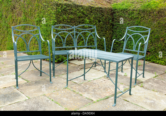 Set Of Patio Furniture Made Of Wrought Iron.   Stock Image