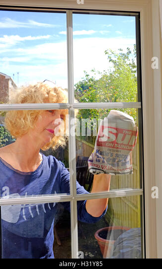 Woman Cleaning Windows Stock Photos Woman Cleaning