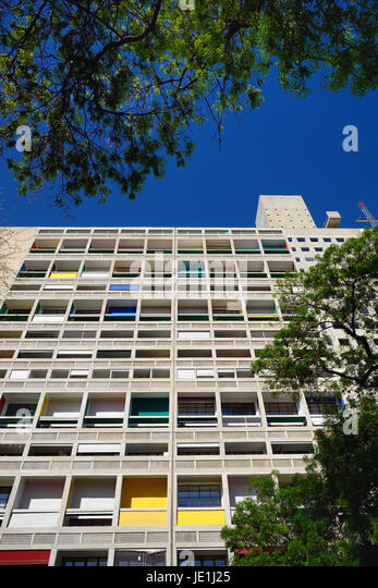 Unité d'Habitation or Cite Radieuse Tower Block Appartments Designed by Le Corbusier Marseille or Marseilles - Stock Image