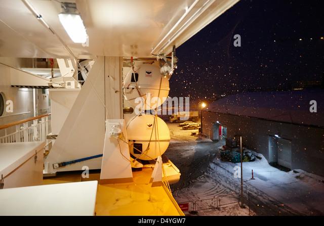 Liferafts And Lifejacket Storage On Board The Hurtigruten Ship Ms Midnatsol  At Night In Winter In