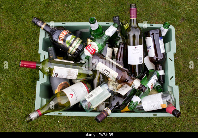 Brown glass recycling stock photos brown glass recycling for Empty wine crates