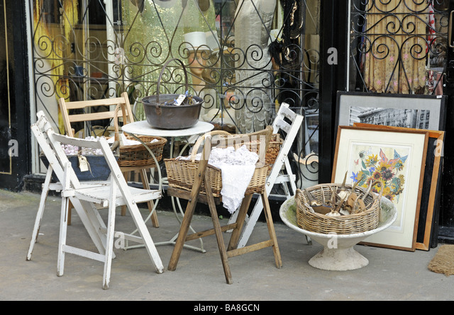 Old table and chairs outside antique shop Camden Passage London England UK    Stock Image. Vintage Furniture Shop London Stock Photos   Vintage Furniture