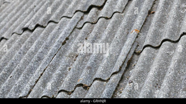 Old Gray Corrugated Fibre Cement Roofing, Background Photo With Selective  Focus   Stock Image