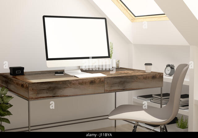 white screen computer on attic 3d rendering  Stock Image