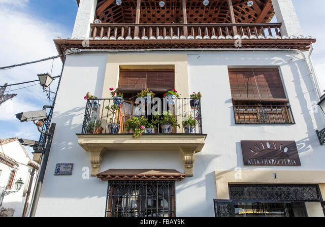 Spanish house flowers stock photos spanish house flowers for Balcony in spanish