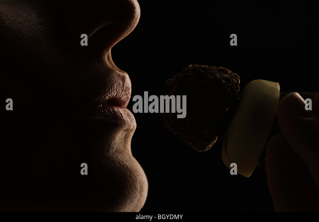 Lick chocolate woman