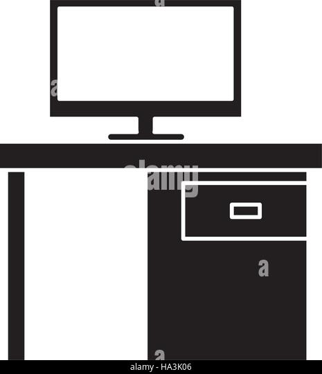 Man Computer Silhouette Desk Stock Vector Images - Alamy