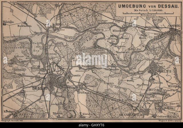 Roslau Roßlau Worlitz Coswig Oranienbaum, 1900 Map   Stock Image