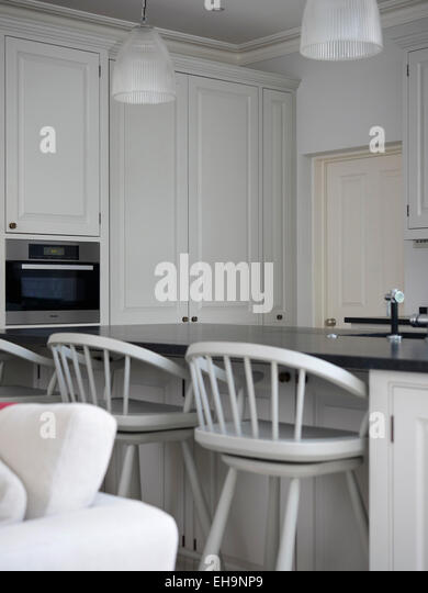 Custom Cupboards In Modern Kitchen With Breakfast Bar And Stools Edenhurst Road Home UK