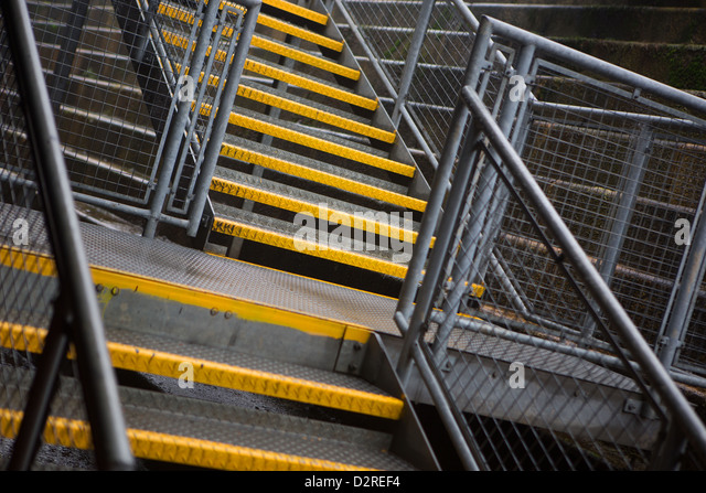 A Metal Stairway In Chathamu0027s Historic Dockyard   Stock Image