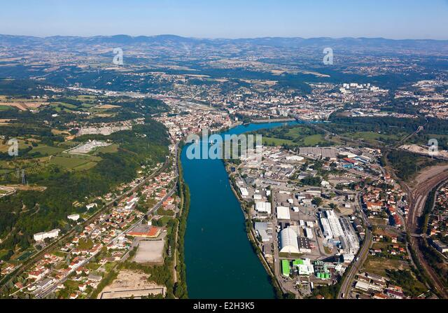 rhone river aerial view stock photos rhone river aerial view stock images alamy. Black Bedroom Furniture Sets. Home Design Ideas
