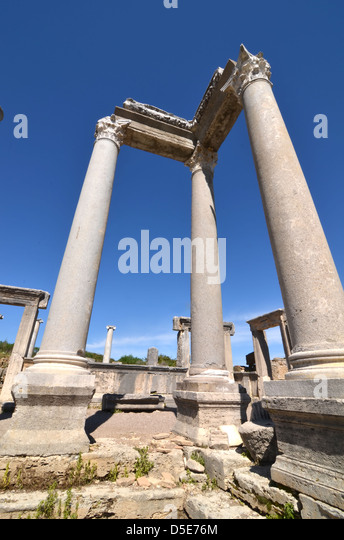 Greek Corinthian Columns Complete With Entablature And Architrave Doorways Lintels In The Background