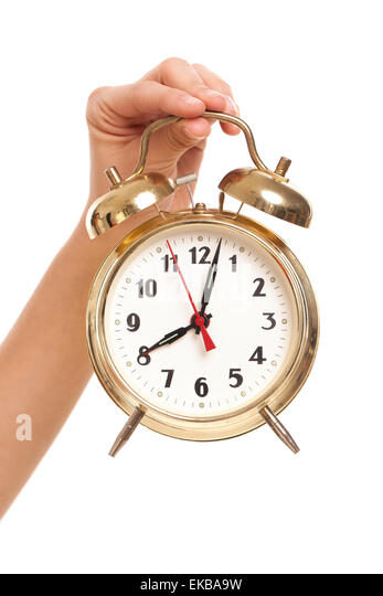 Alarm Clock In Womanu0027s Hand   Stock Image