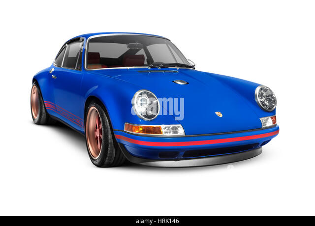 blue porsche 911 classic retro sports car isolated on white background with clippling path