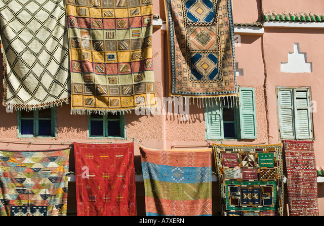 MOROCCO, Draa Valley, AGDZ: Moroccan Rugs For Sale   Stock Image