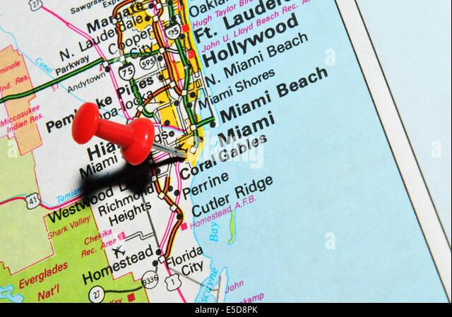 Pins On Map Florida Mark Stock Photos Pins On Map Florida Mark - Miami on us map