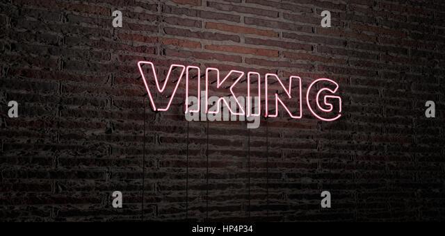Viking background illustration stock photos viking background viking realistic neon sign on brick wall background 3d rendered royalty free stock image voltagebd Images