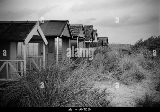 Beach huts at old hunstanton stock image