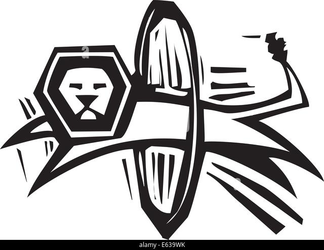 woodcut style image of a circus lion jumping through hoop stock image