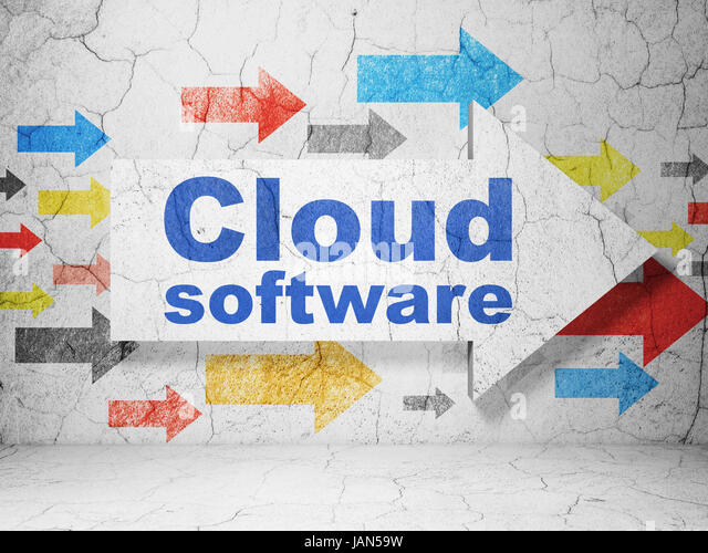 Cloud Computing Concept Arrow With Software On Grunge Textured Concrete Wall Background 3D
