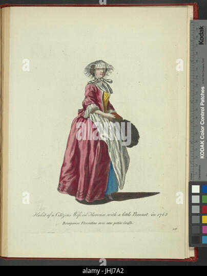 Habit of a citizen's wife in Florence, with a little bonnet, in 1768. Bourgeoise Florentine avec une petite - Stock Image
