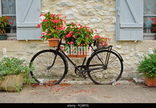 Old Bicycle Used As Planter, Issigeac, Dordogne Department, Aquitaine,  France.   Ideas