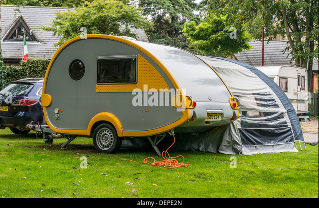 Teardrop Shaped Tb Caravan And Awning On A Pitch At The Club