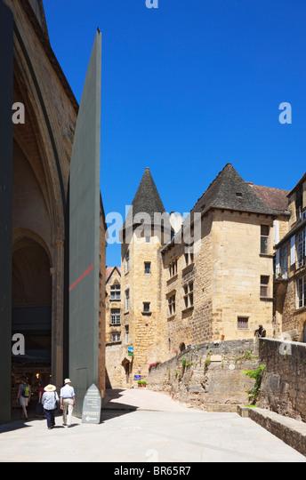 People Walking Into Saint Marie Church Market Sarlat La Caneda Dordogne France