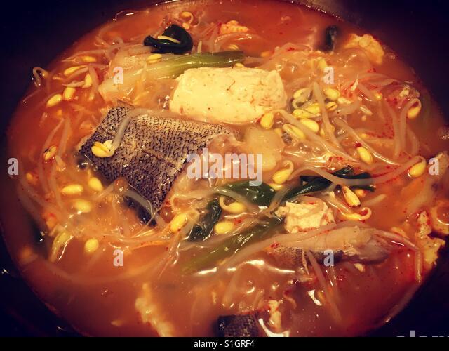 Korean Fish Tofu Hot Pot Stock Image