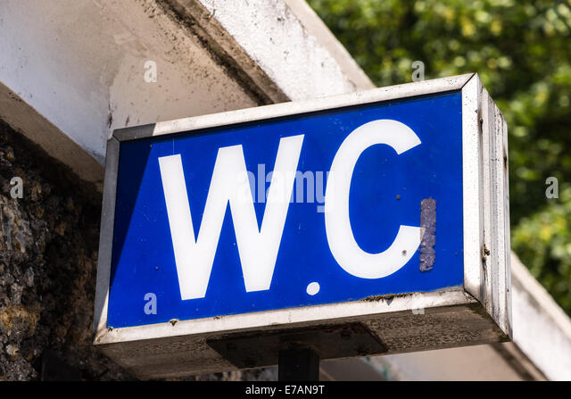 Delightful A Blue W.C. Sign Shows The Entrance To A Water Closet.   Stock Image