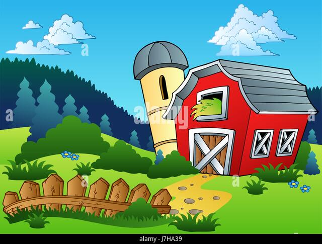 Tree Barn Farm Landscape Scenery Countryside Nature Granary Path Way House