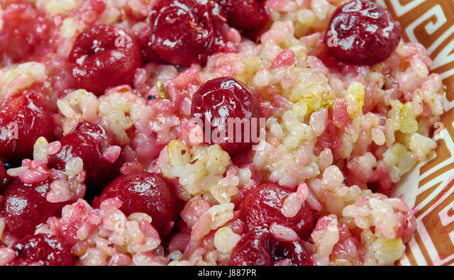 Albalu polow - Persian Rice with Sour Cherries - Stock Image