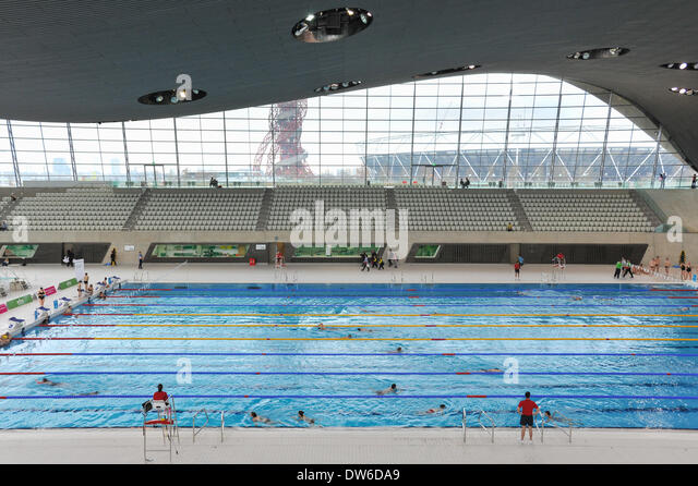 London olympic park 2014 stock photos london olympic - Queen elizabeth olympic park swimming pool ...