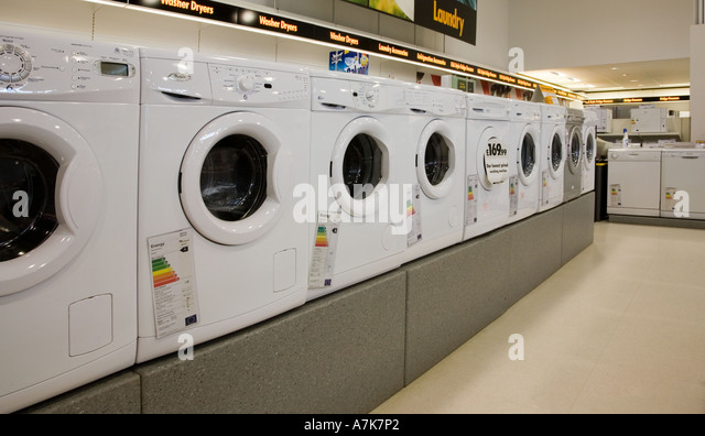 washing machines on sale in electrical superstore wales uk stock image