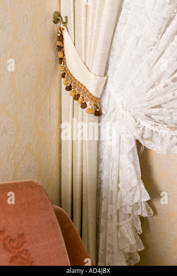 Detail Of Curtains Drawn Back   Stock Image