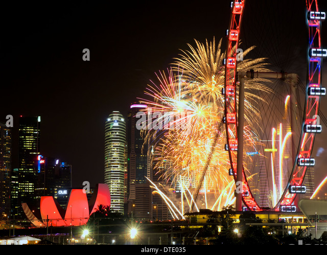 view of marina bay area from bay east garden during singapores national day celebration with fireworks