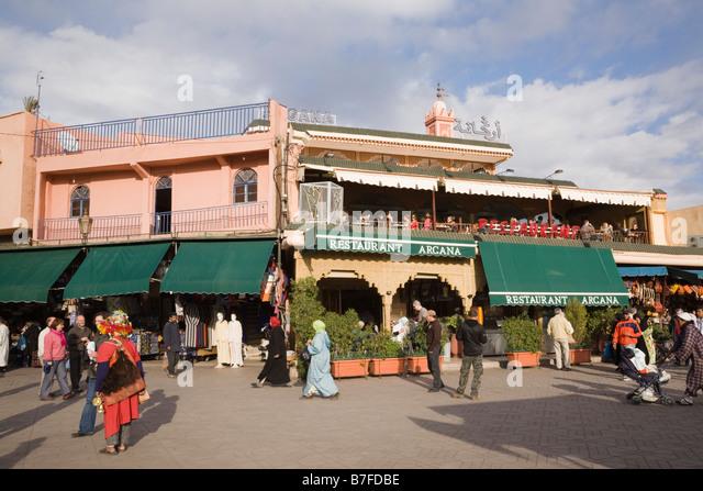 Terrace restaurant marrakesh morocco stock photos for Argana moroccan cuisine