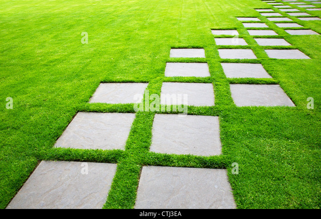 Large stone path stock photos large stone path stock for Green pavers