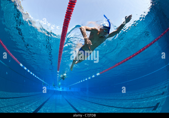swimmers training in an open air olympic swimming pool france underwater view