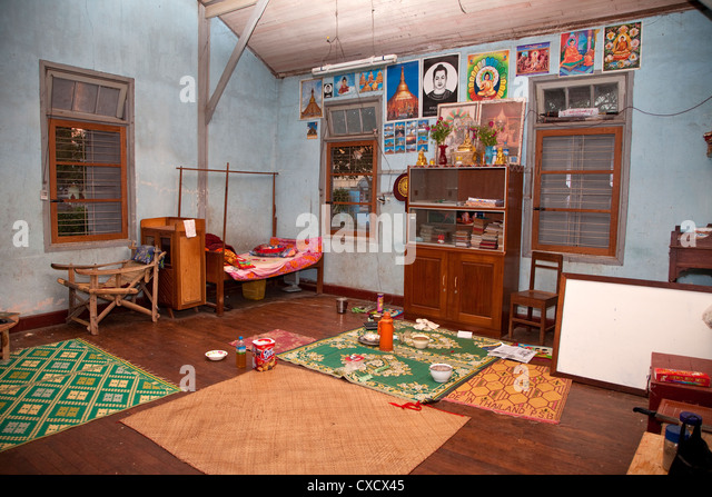 Bedroom of a Monk at Thein Taung Paya monastery  Kalaw. Monk Room Stock Photos   Monk Room Stock Images   Alamy