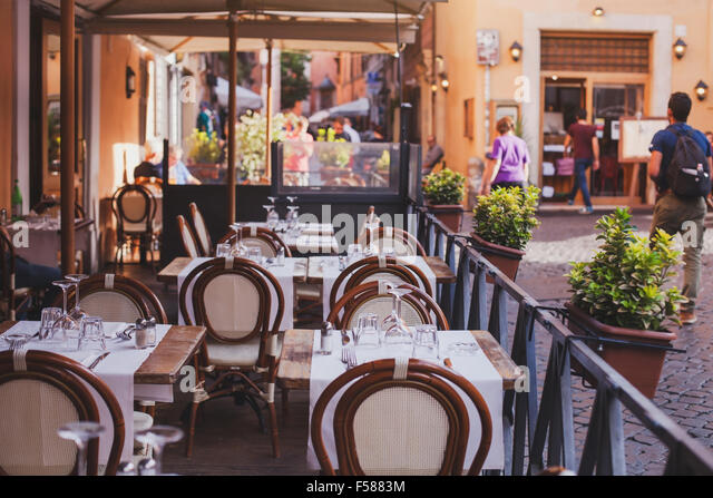 Gastronomy trastevere stock photos gastronomy trastevere for Open terrace restaurants