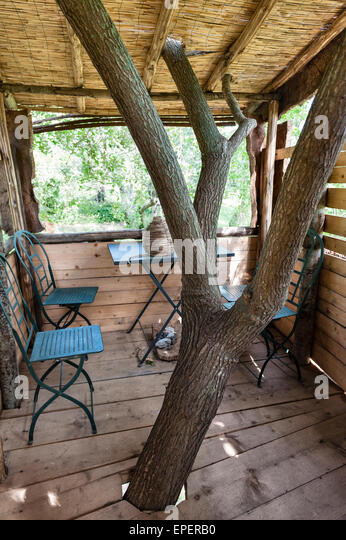 italy interior of a garden tree house built for the children stock image