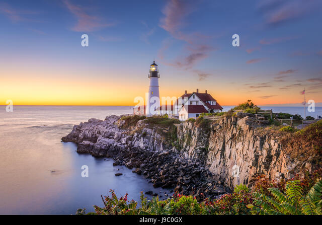 Portland, Maine, USA at Portland Head Light. - Stock Image