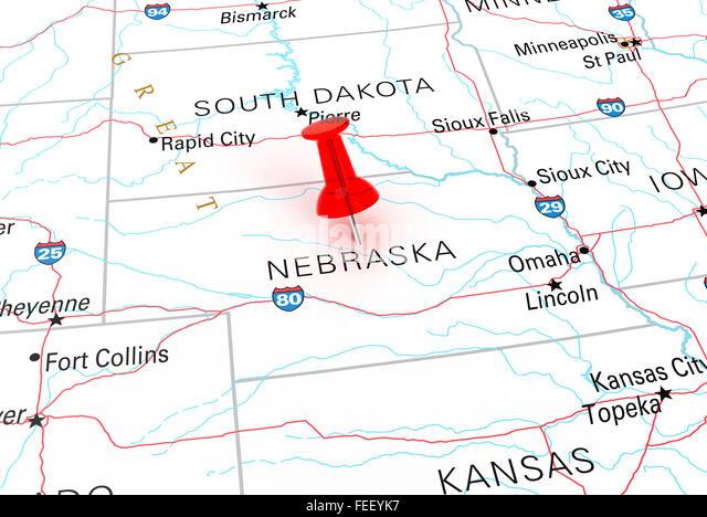Nebraska And Wyoming Stock Photos Nebraska And Wyoming Stock - Usa map nebraska