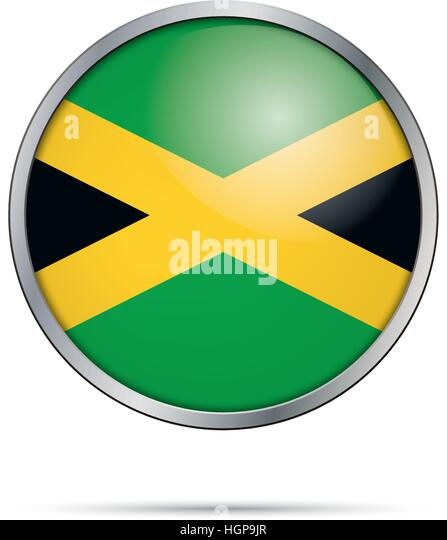 jamaica flag glass button style with metal frame vector jamaican flag button stock