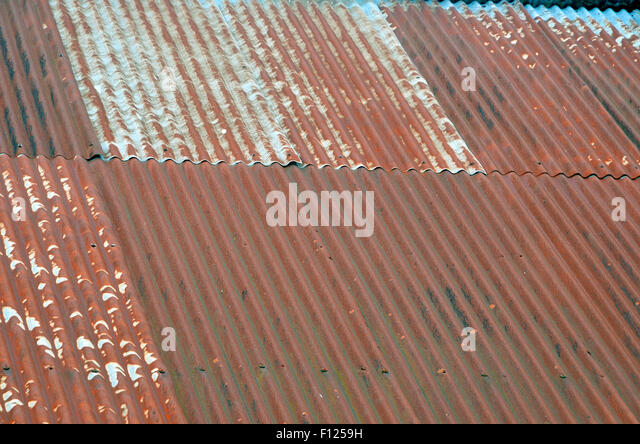 Rusty Corrugated Iron (sometimes Referred To As Tin) Roof On An Old Barn.
