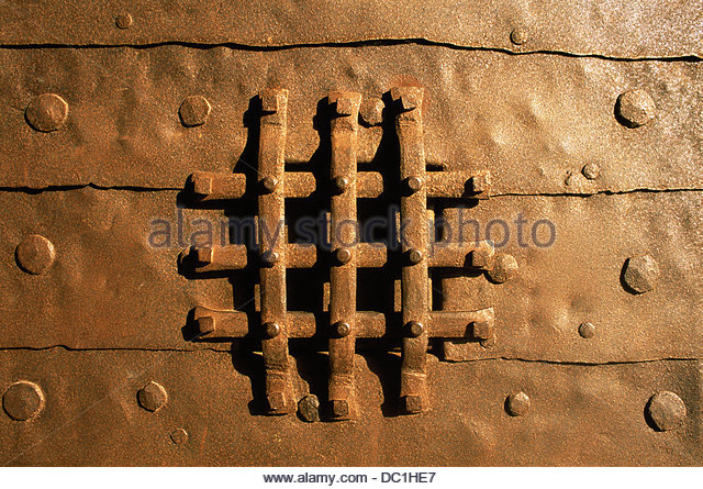 Middle age armored door with grid. Mont Saint Michel. Normandy. France - Stock & Mont Saint Michel Close Up Stock Photos \u0026 Mont Saint Michel Close Up ...