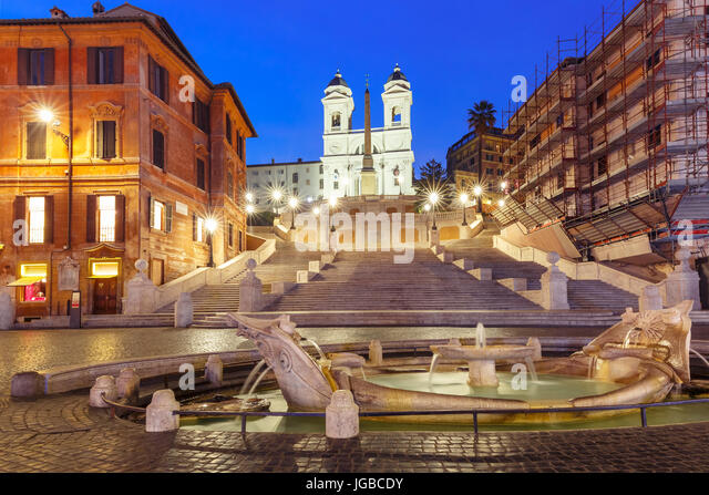 Spanish Steps at night, Rome, Italy. - Stock Image