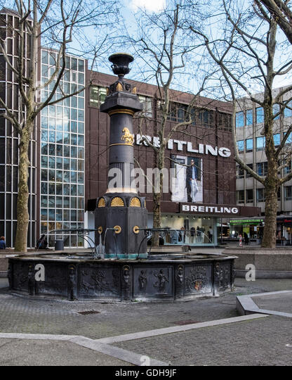 breitling outlet prices rvy4  Stuttgart, Breitling mens clothing store and fountain on Market square,  Markplatz